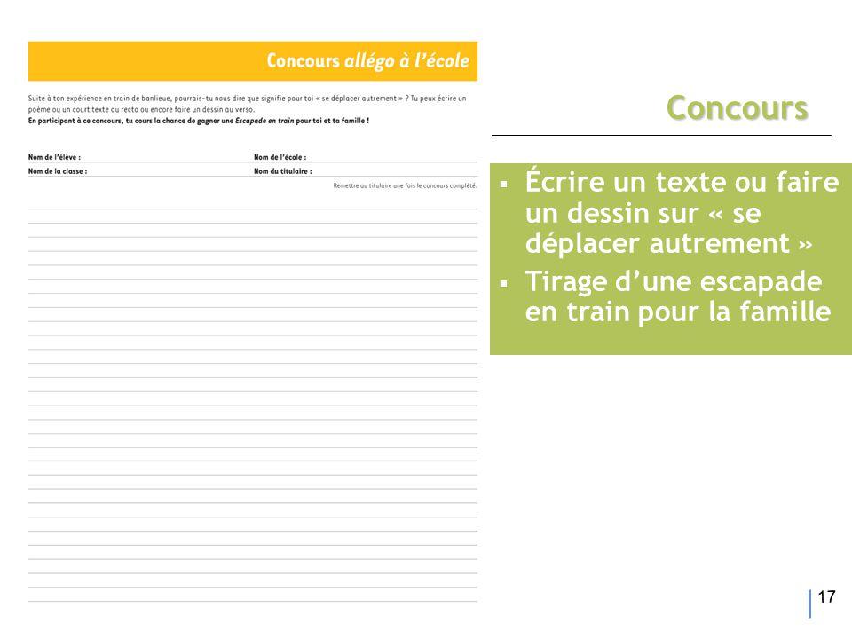 17 Concours  Écrire un texte ou faire un dessin sur « se déplacer autrement »  Tirage d'une escapade en train pour la famille