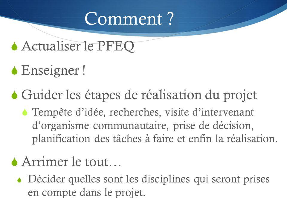 Comment . Actualiser le PFEQ  Enseigner .