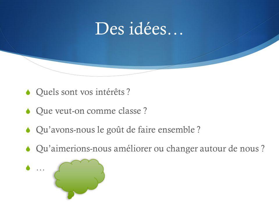 Des idées…  Quels sont vos intérêts . Que veut-on comme classe .
