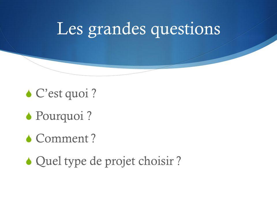 Les grandes questions  C'est quoi ?  Pourquoi ?  Comment ?  Quel type de projet choisir ?