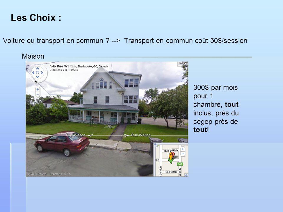 Les Choix : Voiture ou transport en commun ? --> Transport en commun coût 50$/session Maison 300$ par mois pour 1 chambre, tout inclus, près du cégep