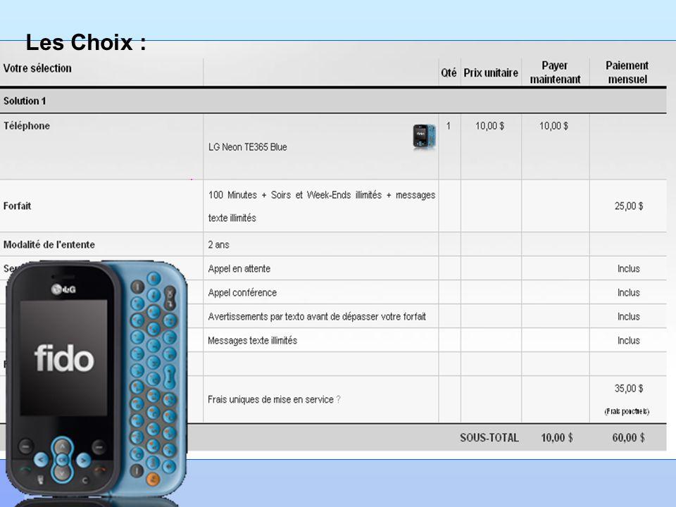 Cellulaire ou pas? Les Choix :