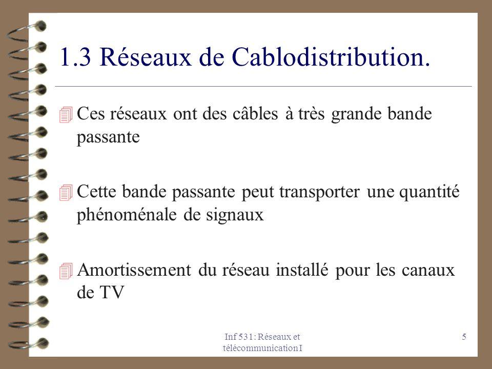 Inf 531: Réseaux et télécommunication I 5 1.3 Réseaux de Cablodistribution. 4 Ces réseaux ont des câbles à très grande bande passante 4 Cette bande pa
