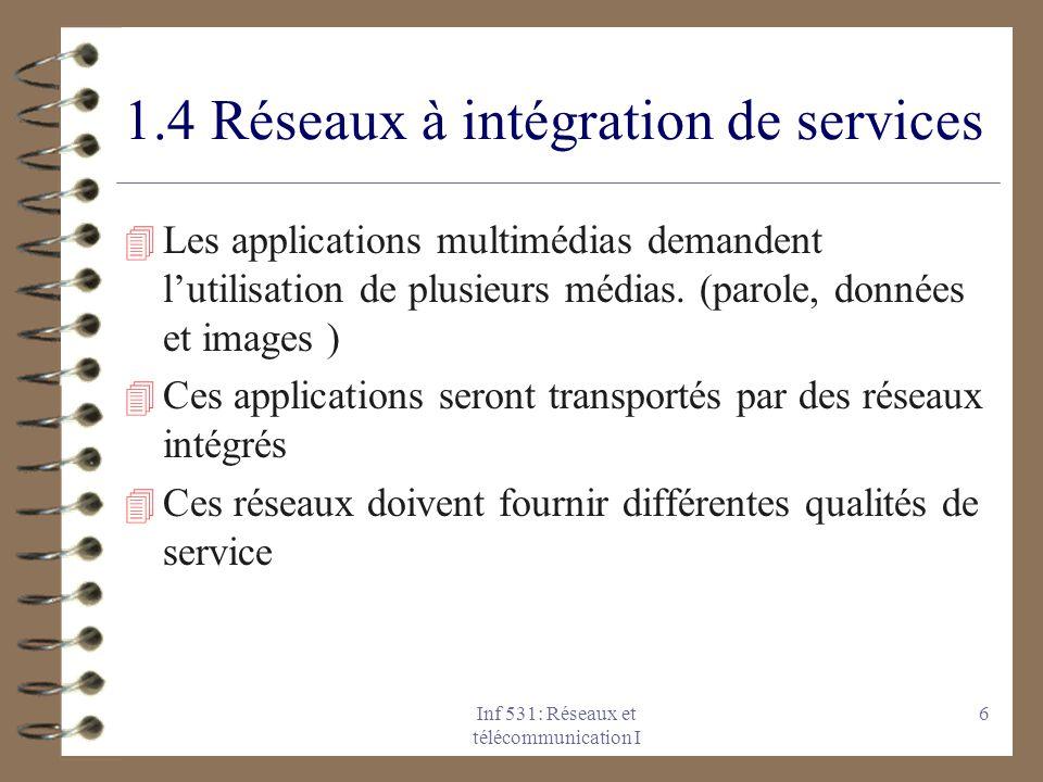 Inf 531: Réseaux et télécommunication I 6 1.4 Réseaux à intégration de services 4 Les applications multimédias demandent l'utilisation de plusieurs mé