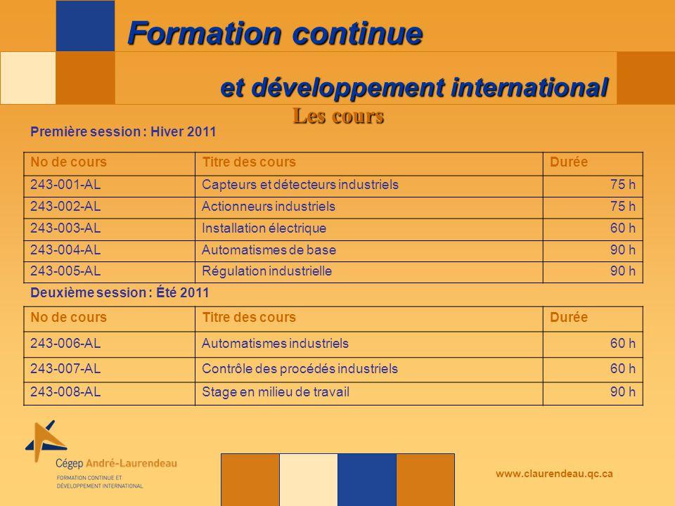 et développement international Formation continue www.claurendeau.qc.ca Les cours Première session : Hiver 2011 No de coursTitre des coursDurée 243-001-ALCapteurs et détecteurs industriels75 h 243-002-ALActionneurs industriels75 h 243-003-ALInstallation électrique60 h 243-004-ALAutomatismes de base90 h 243-005-ALRégulation industrielle90 h Deuxième session : Été 2011 No de coursTitre des coursDurée 243-006-ALAutomatismes industriels60 h 243-007-ALContrôle des procédés industriels60 h 243-008-ALStage en milieu de travail90 h