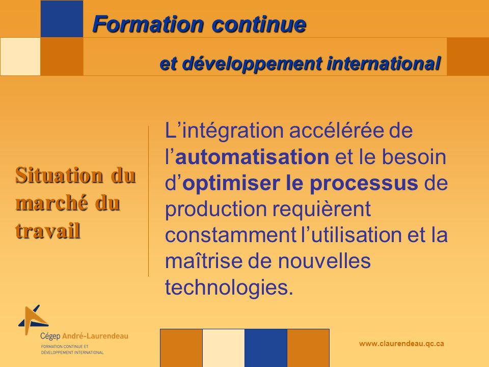 et développement international Formation continue www.claurendeau.qc.ca L'intégration accélérée de l'automatisation et le besoin d'optimiser le processus de production requièrent constamment l'utilisation et la maîtrise de nouvelles technologies.