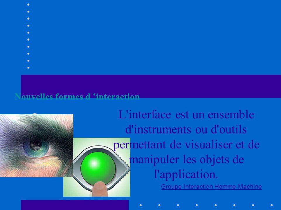 L interface est un ensemble d instruments ou d outils permettant de visualiser et de manipuler les objets de l application.