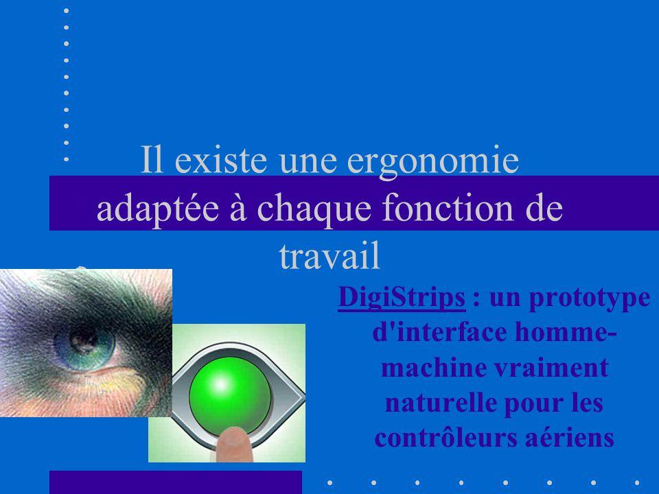 Il existe une ergonomie adaptée à chaque fonction de travail DigiStripsDigiStrips : un prototype d interface homme- machine vraiment naturelle pour les contrôleurs aériens