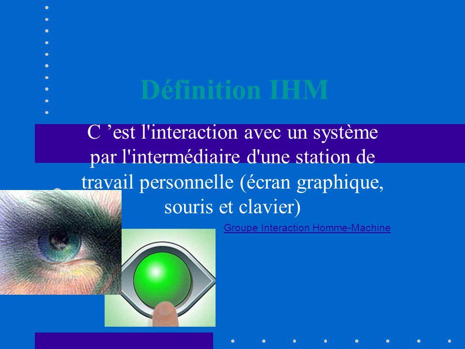 Définition IHM C 'est l interaction avec un système par l intermédiaire d une station de travail personnelle (écran graphique, souris et clavier) Groupe Interaction Homme-Machine