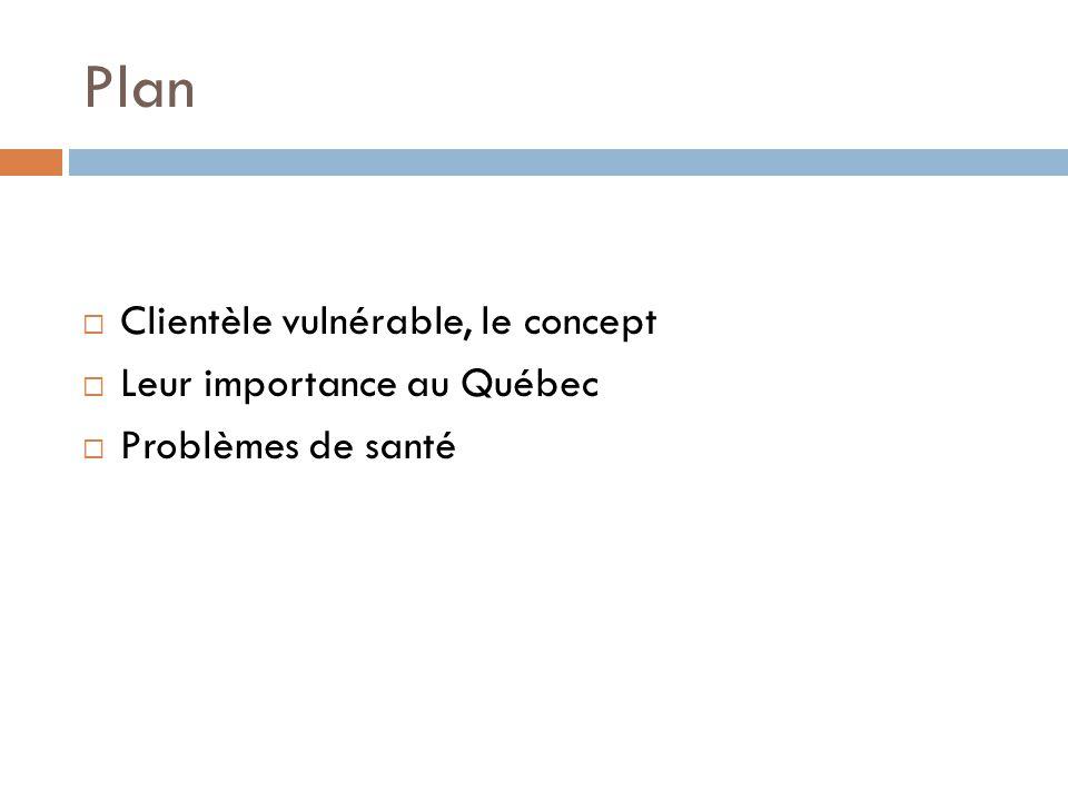 Plan  Clientèle vulnérable, le concept  Leur importance au Québec  Problèmes de santé