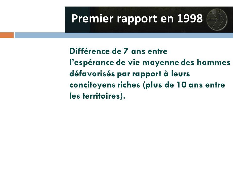 Différence de 7 ans entre l'espérance de vie moyenne des hommes défavorisés par rapport à leurs concitoyens riches (plus de 10 ans entre les territoires).