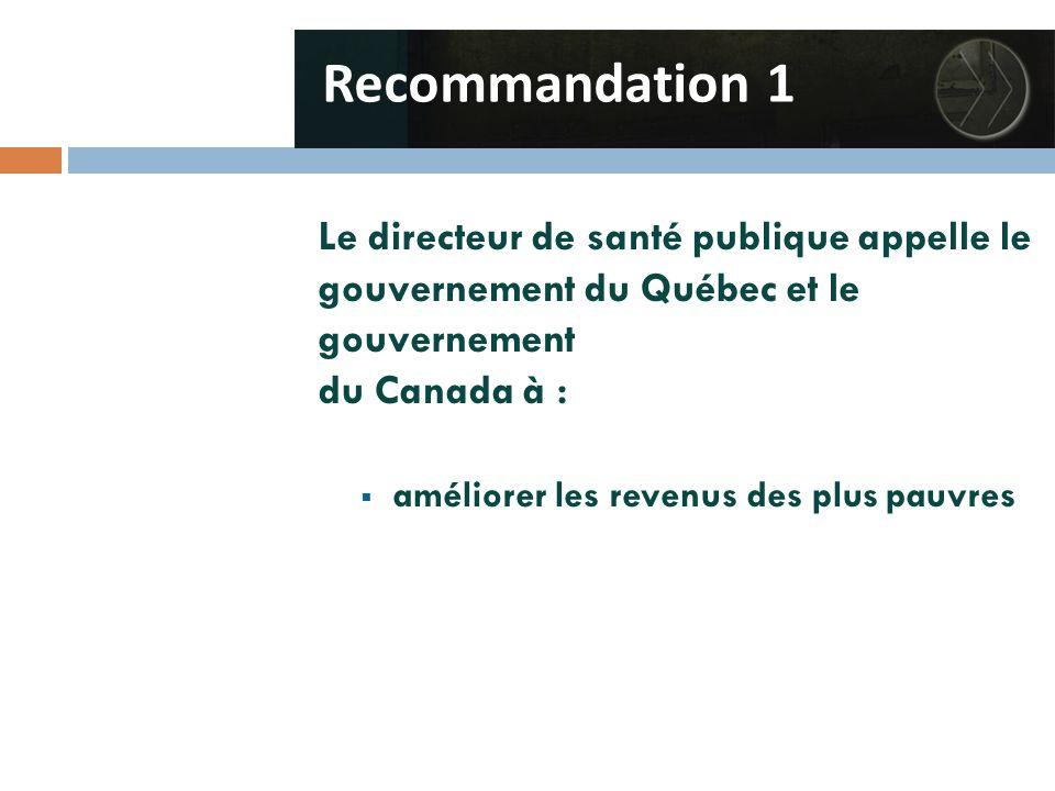 Le directeur de santé publique appelle le gouvernement du Québec et le gouvernement du Canada à :  améliorer les revenus des plus pauvres Recommandation 1