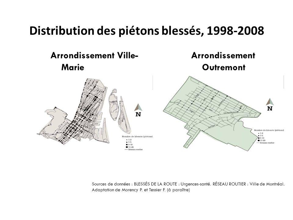 Arrondissement Ville- Marie Arrondissement Outremont Sources de données : BLESSÉS DE LA ROUTE : Urgences-santé.
