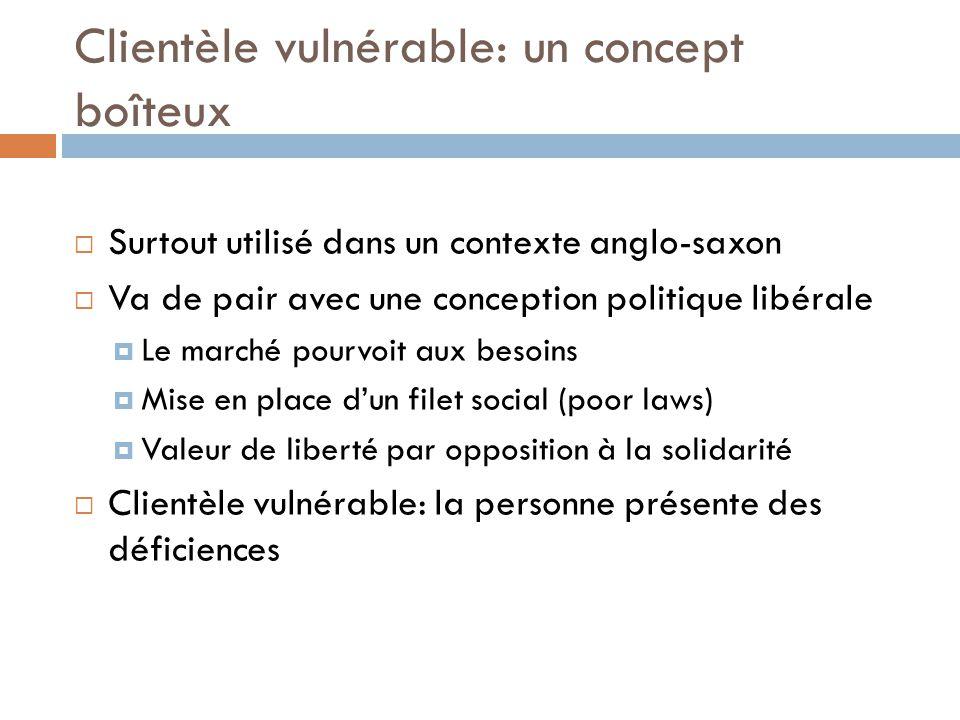 Clientèle vulnérable: un concept boîteux Est-ce que Matthew Coon-Come, Michaëlle Jean, André Boisclair, Lucien Bouchard ou Barack Obama sont vulnérables?