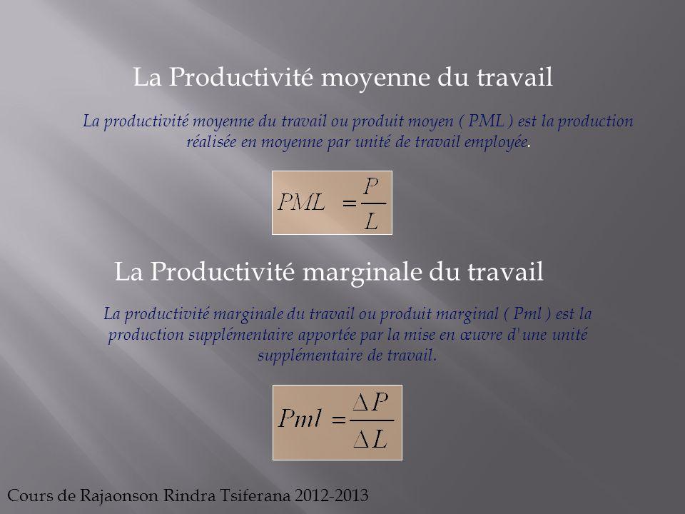 La Productivité moyenne du travail La productivité moyenne du travail ou produit moyen ( PML ) est la production réalisée en moyenne par unité de trav