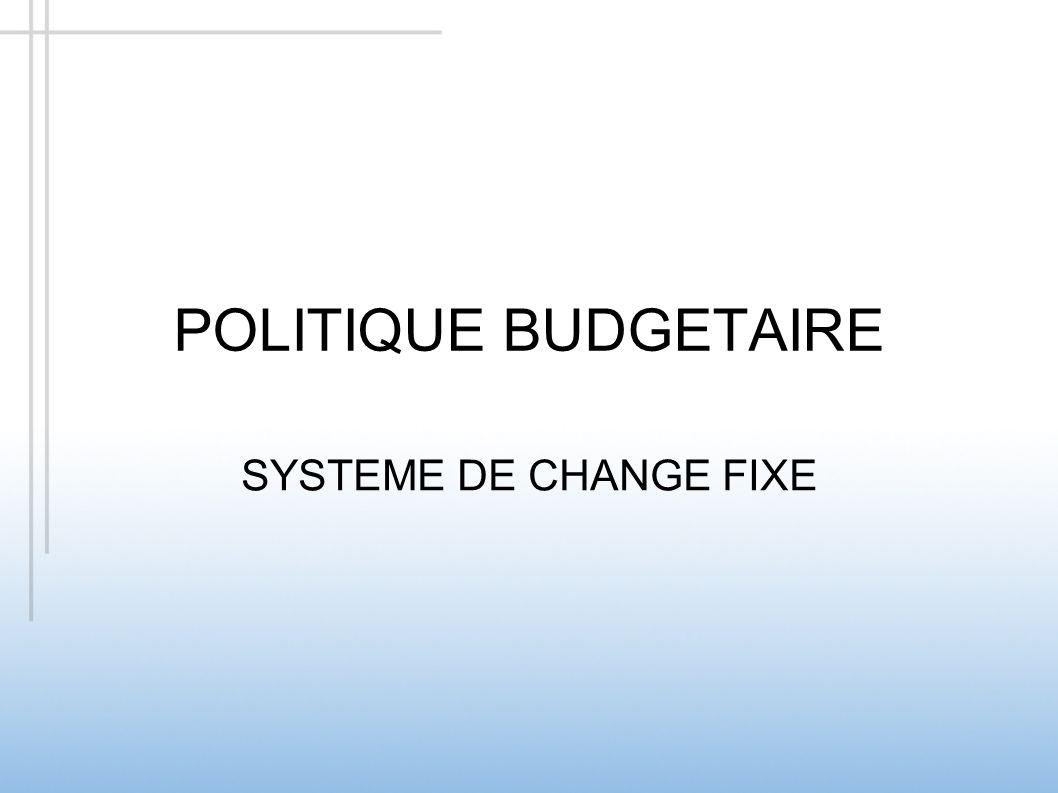 POLITIQUE BUDGETAIRE SYSTEME DE CHANGE FIXE