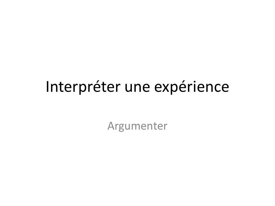 Interpréter une expérience Argumenter