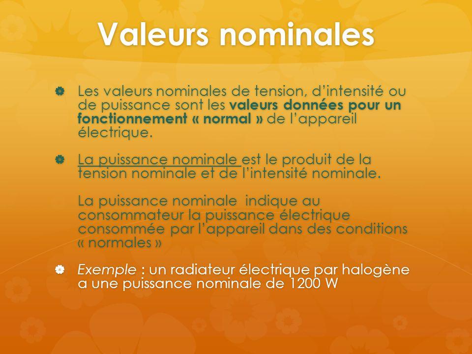 Valeurs nominales  Les valeurs nominales de tension, d'intensité ou de puissance sont les valeurs données pour un fonctionnement « normal » de l'appa
