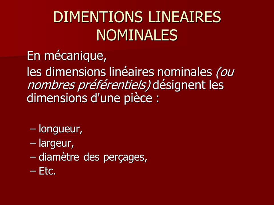 DIMENTIONS LINEAIRES NOMINALES En mécanique, les dimensions linéaires nominales (ou nombres préférentiels) désignent les dimensions d'une pièce : –lon