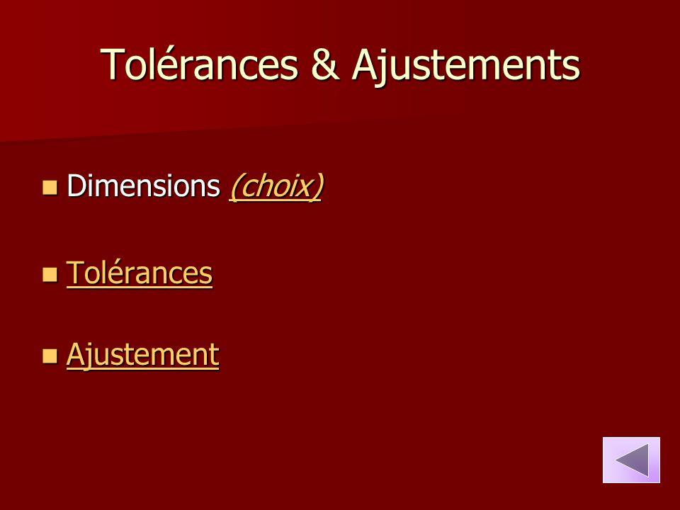 Tolérances & Ajustements Dimensions (choix) Dimensions (choix)(choix) Tolérances Tolérances Tolérances Ajustement Ajustement Ajustement