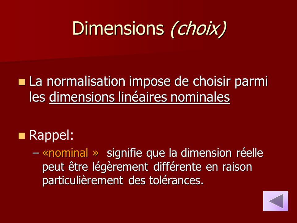 Dimensions (choix) La normalisation impose de choisir parmi les dimensions linéaires nominales La normalisation impose de choisir parmi les dimensions
