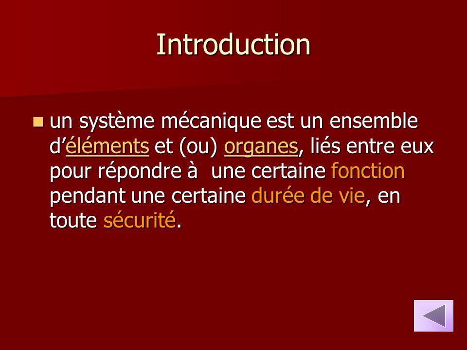Introduction un système mécanique est un ensemble d'éléments et (ou) organes, liés entre eux pour répondre à une certaine fonction pendant une certain