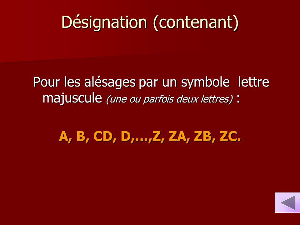 Désignation (contenant) Pour les alésages par un symbole lettre majuscule (une ou parfois deux lettres) : A, B, CD, D,…,Z, ZA, ZB, ZC.
