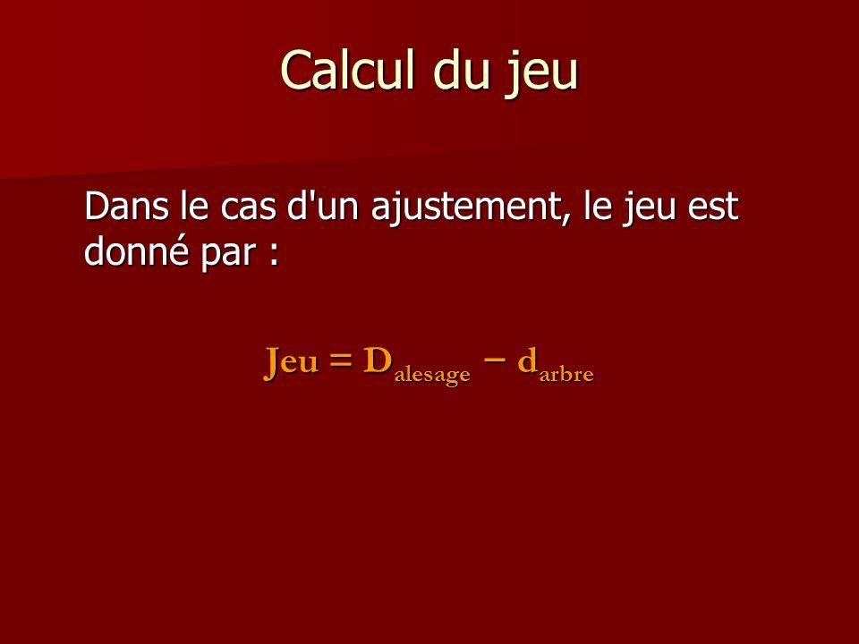 Calcul du jeu Dans le cas d'un ajustement, le jeu est donné par : Jeu = D alesage − d arbre