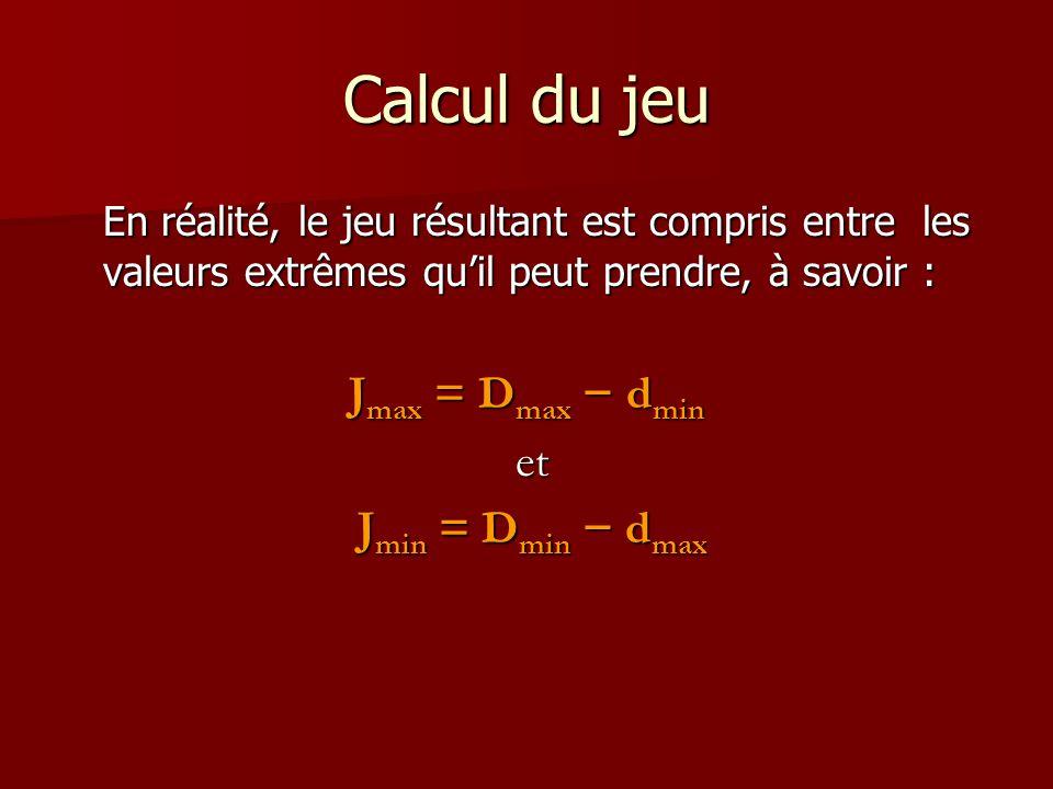 Calcul du jeu En réalité, le jeu résultant est compris entre les valeurs extrêmes qu'il peut prendre, à savoir : J max = D max − d min et et J min = D