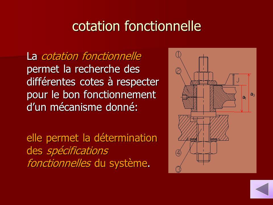 cotation fonctionnelle La cotation fonctionnelle permet la recherche des différentes cotes à respecter pour le bon fonctionnement d'un mécanisme donné