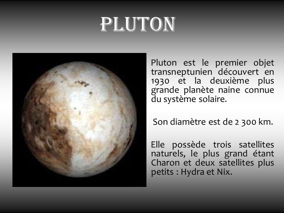 Pluton est le premier objet transneptunien découvert en 1930 et la deuxième plus grande planète naine connue du système solaire. Son diamètre est de 2