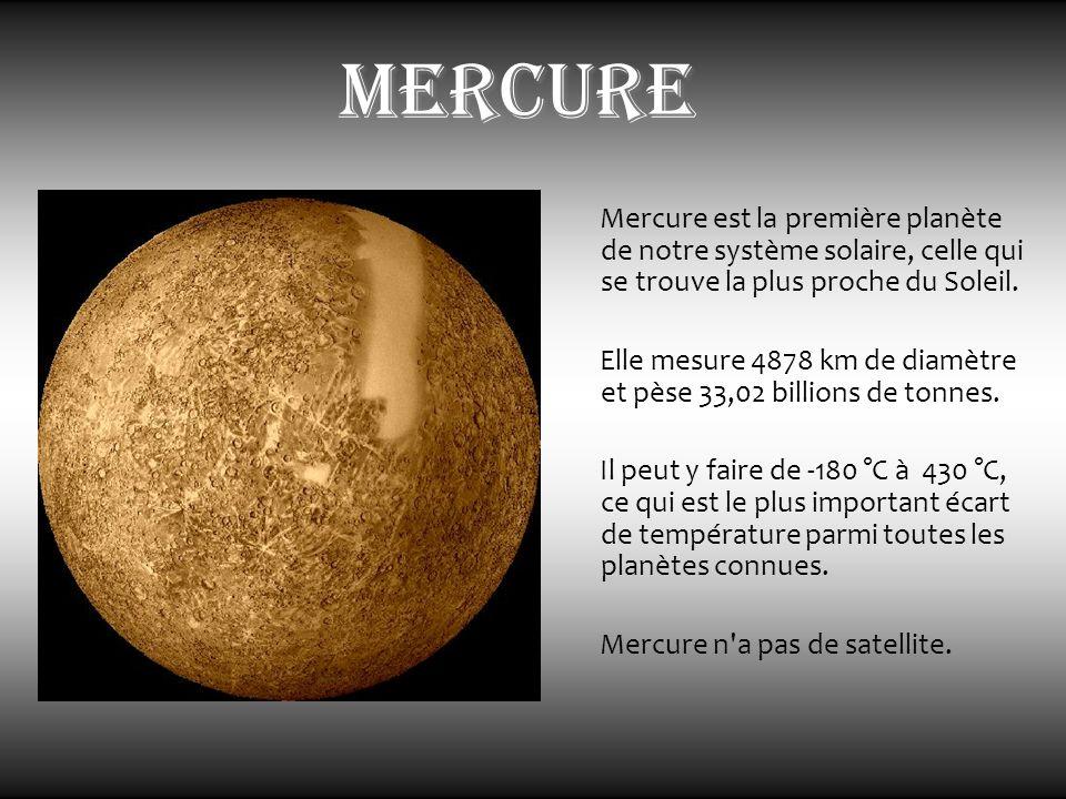 mercure Mercure est la première planète de notre système solaire, celle qui se trouve la plus proche du Soleil. Elle mesure 4878 km de diamètre et pès