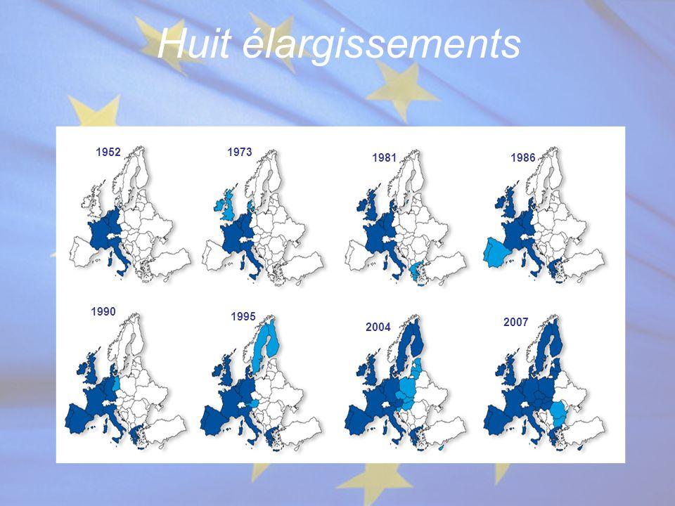Huit élargissements 19521973 19811986 1990 1995 2004 2007