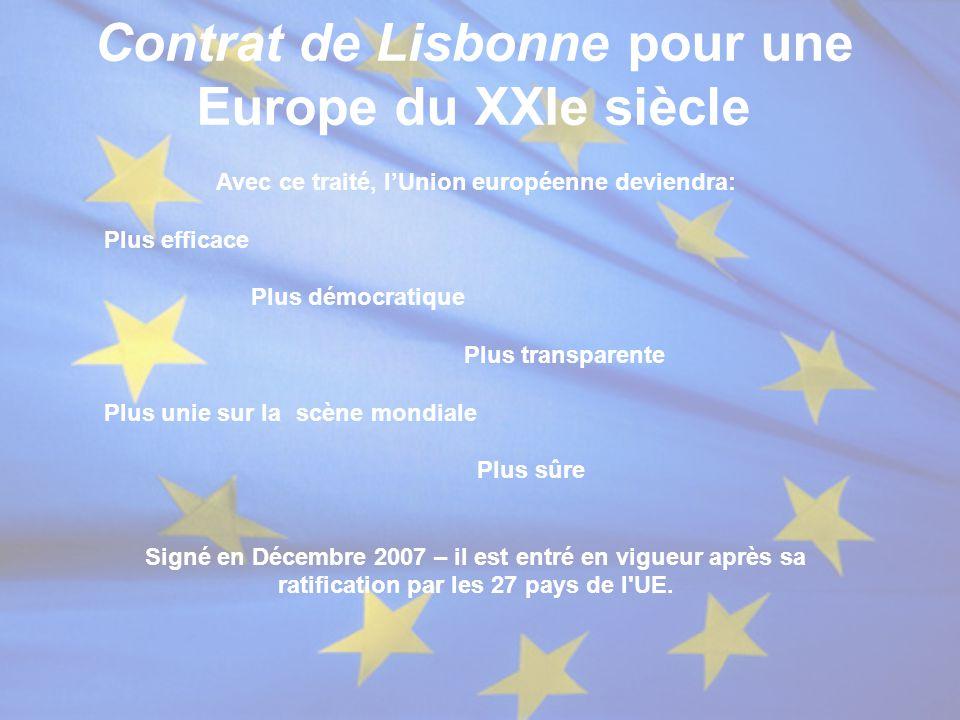 Contrat de Lisbonne pour une Europe du XXIe siècle Avec ce traité, l'Union européenne deviendra: Plus efficace Plus démocratique Plus transparente Plu