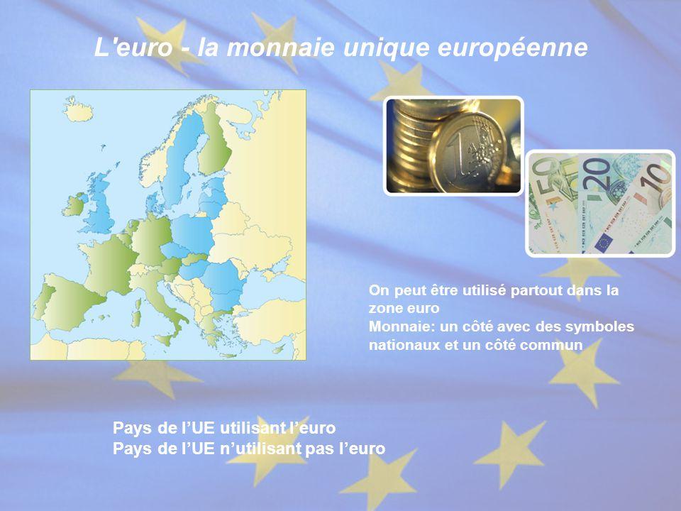 L'euro - la monnaie unique européenne On peut être utilisé partout dans la zone euro Monnaie: un côté avec des symboles nationaux et un côté commun Pa