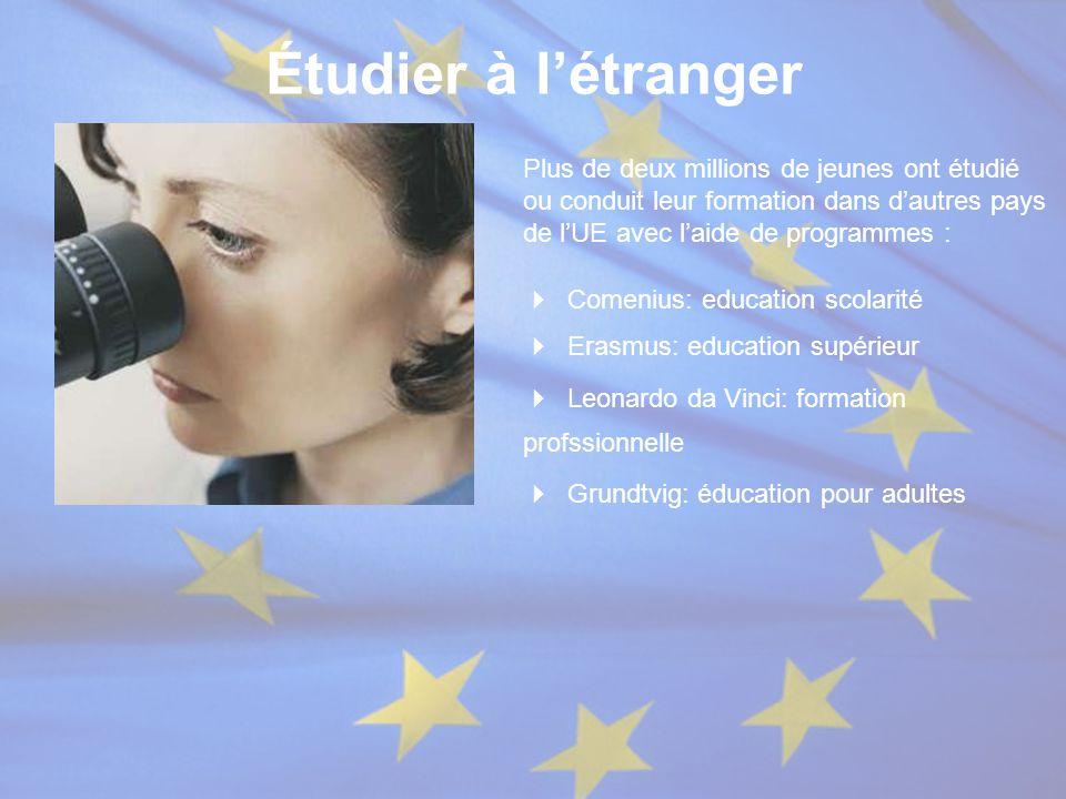 Étudier à l'étranger Plus de deux millions de jeunes ont étudié ou conduit leur formation dans d'autres pays de l'UE avec l'aide de programmes :  Co