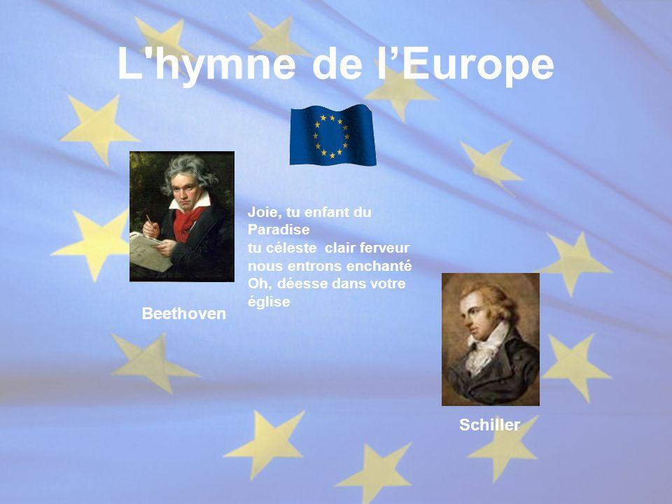 L'hymne de l'Europe Joie, tu enfant du Paradise tu céleste clair ferveur nous entrons enchanté Oh, déesse dans votre église Beethoven Schiller