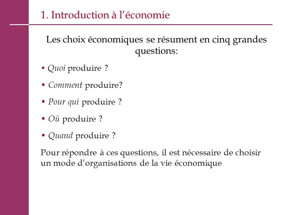 1. Introduction à l'économie Les choix économiques se résument en cinq grandes questions: Quoi produire ? Comment produire? Pour qui produire ? Où pro