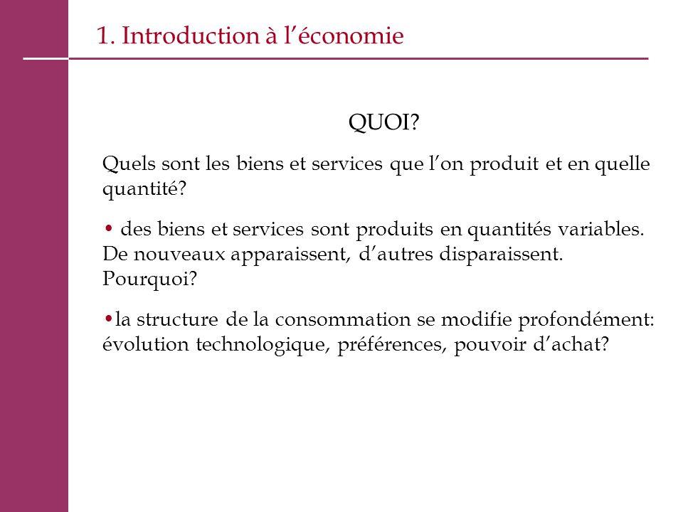 1. Introduction à l'économie QUOI? Quels sont les biens et services que l'on produit et en quelle quantité? des biens et services sont produits en qua