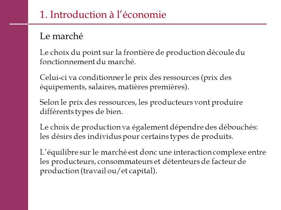 1. Introduction à l'économie Le marché Le choix du point sur la frontière de production découle du fonctionnement du marché. Celui-ci va conditionner