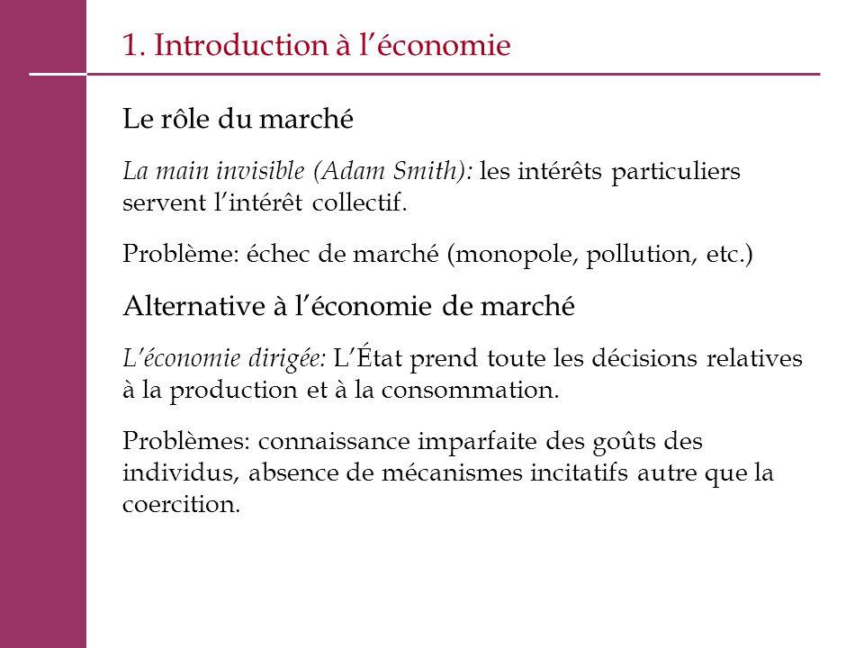1. Introduction à l'économie Le rôle du marché La main invisible (Adam Smith): les intérêts particuliers servent l'intérêt collectif. Problème: échec