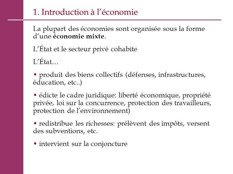 1. Introduction à l'économie La plupart des économies sont organisée sous la forme d'une économie mixte. L'État et le secteur privé cohabite L'État… p
