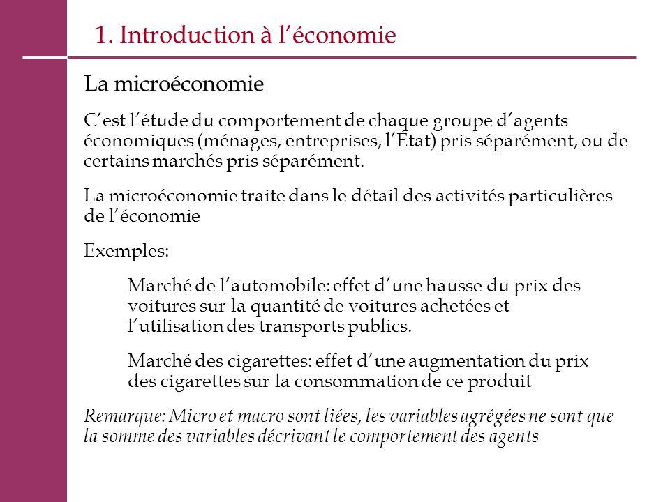 1. Introduction à l'économie La microéconomie C'est l'étude du comportement de chaque groupe d'agents économiques (ménages, entreprises, l'État) pris