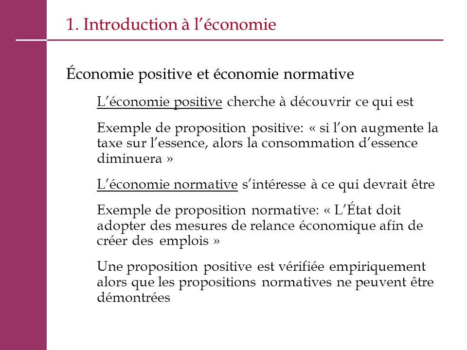 1. Introduction à l'économie Économie positive et économie normative L'économie positive cherche à découvrir ce qui est Exemple de proposition positiv
