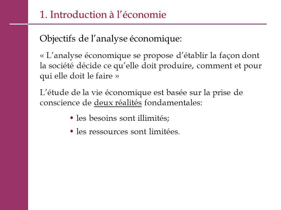 1. Introduction à l'économie Objectifs de l'analyse économique: « L'analyse économique se propose d'établir la façon dont la société décide ce qu'elle