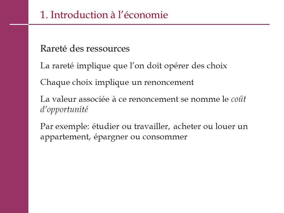 1. Introduction à l'économie Rareté des ressources La rareté implique que l'on doit opérer des choix Chaque choix implique un renoncement La valeur as