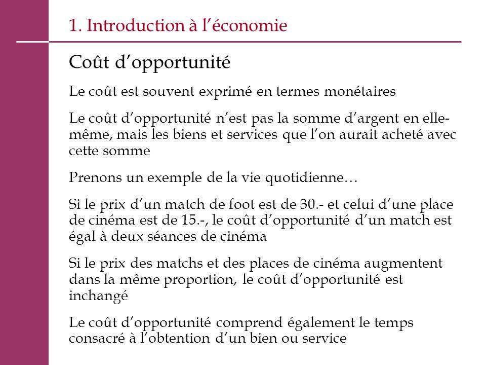 1. Introduction à l'économie Coût d'opportunité Le coût est souvent exprimé en termes monétaires Le coût d'opportunité n'est pas la somme d'argent en