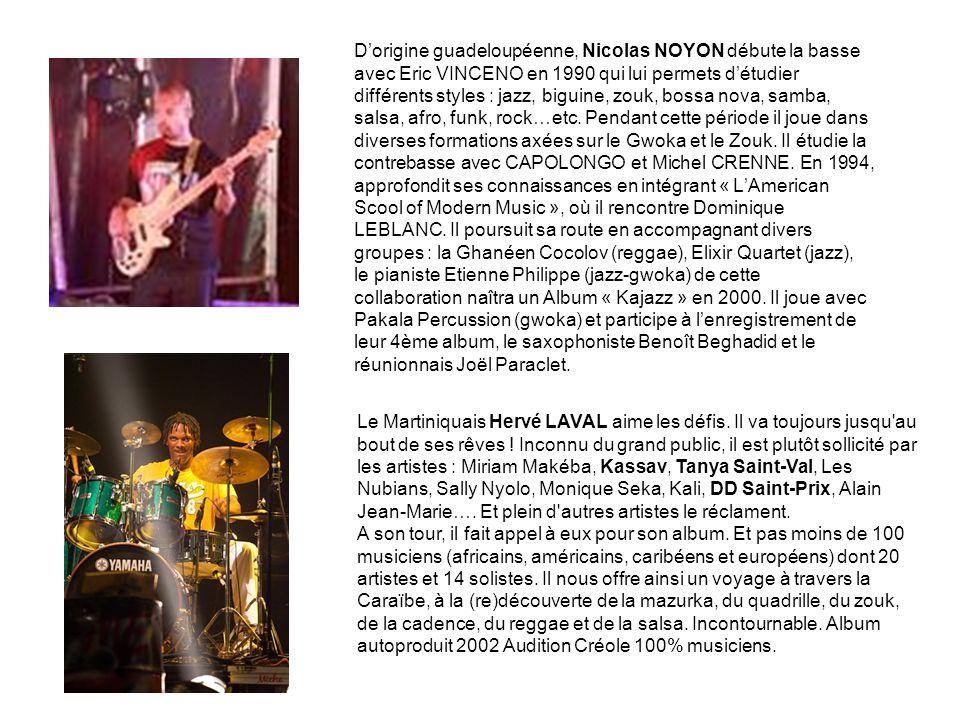 D'origine guadeloupéenne, Nicolas NOYON débute la basse avec Eric VINCENO en 1990 qui lui permets d'étudier différents styles : jazz, biguine, zouk, bossa nova, samba, salsa, afro, funk, rock…etc.