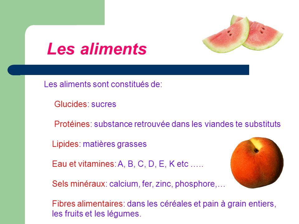 Les aliments sont constitués de: Glucides: sucres Protéines: substance retrouvée dans les viandes te substituts Lipides: matières grasses Eau et vitamines: A, B, C, D, E, K etc …..