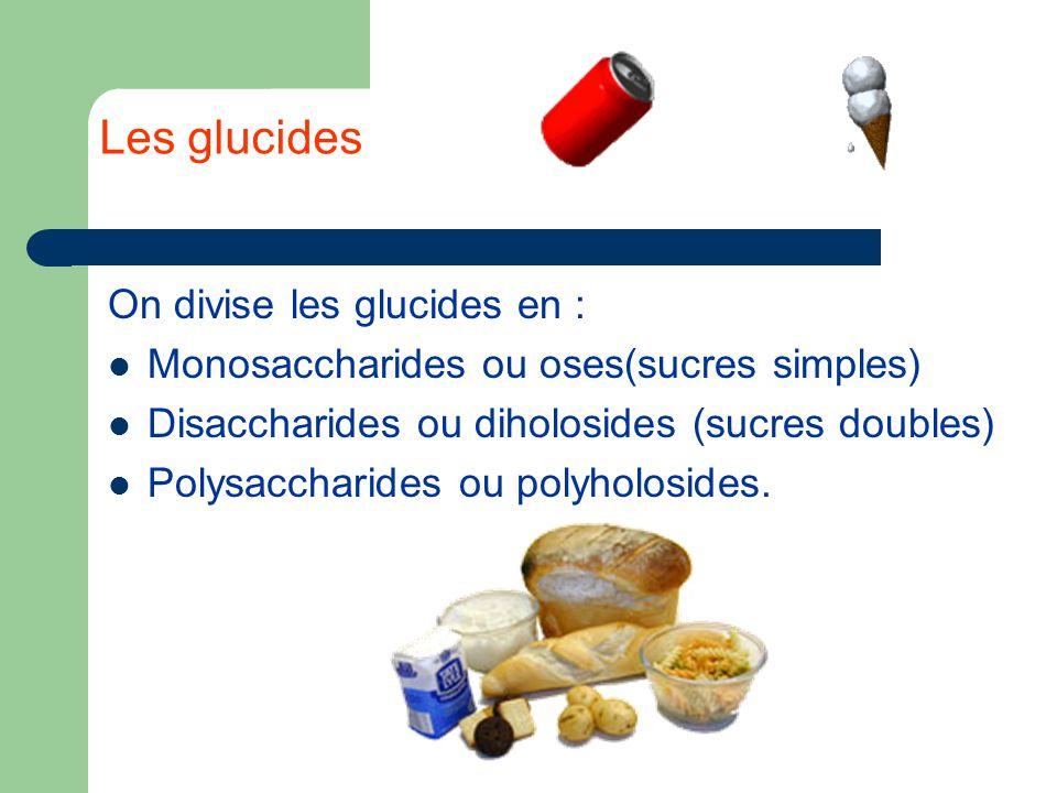 Les glucides On divise les glucides en : Monosaccharides ou oses(sucres simples) Disaccharides ou diholosides (sucres doubles) Polysaccharides ou polyholosides.
